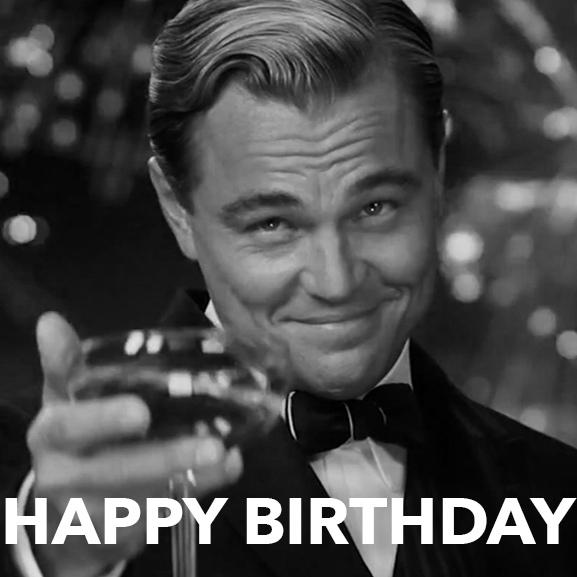 Прикольная картинка с днём рождения от Леонардо Ди Каприо