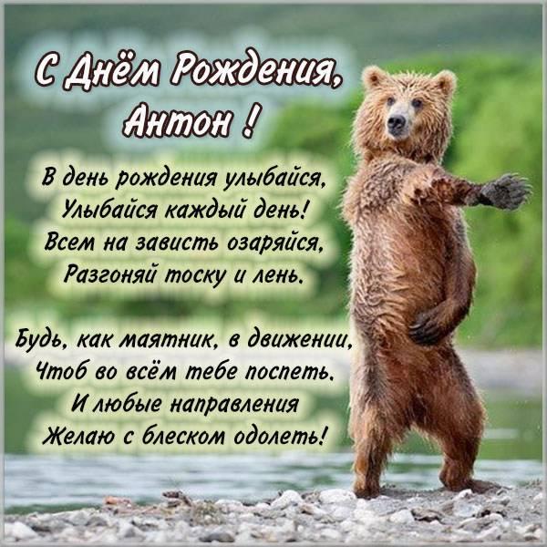 Позитивная картинка с красивыми и тёплыми пожеланиями на день рождения Антону!