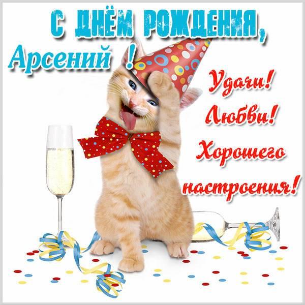 Смешная открытка с котиком и поздравлением с днём рождения Арсений!