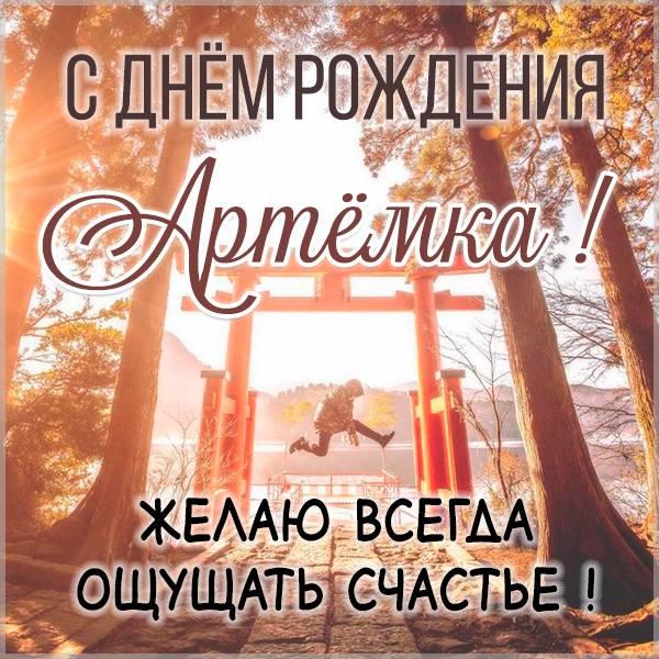 Открытка с пожеланием счастья для Артёма в день его Рождения!